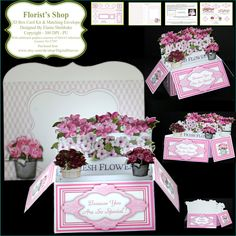 Florists Shop - 3D Pop Up Box Card Kit, Assorted Greetings & Matching Envelope PU 300 DPI by DigitalHeaven on Etsy