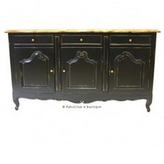 French Country Rustic Sideboard - Black
