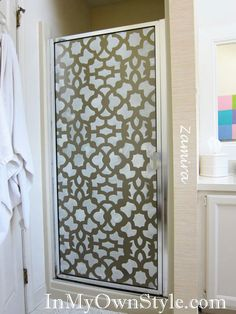 I like this for my shower door! (stenciled glass shower door with Zamira #Stencil from #CuttingEdgeStencils)