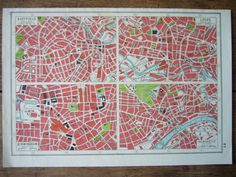 Vintage England  Map Industrial Cities  Original by Thepapermuseum, $10.00