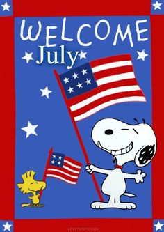 Welcome July usa flag america snoopy red white blue july july 4th woodstock independence day
