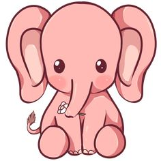 Kawaii Elephant by Dessineka on DeviantArt Cute Elephant Drawing, Elephant Doodle, Cute Cartoon Animals, Cute Elephant Cartoon, Anime Animals, Cute Animals, Kawaii Drawings, Easy Drawings, Cute Drawings Tumblr