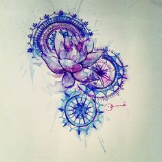 Loto flower & mandala Blue, purple and pink desing.