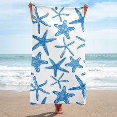 Sea stars in blue beach towel #inktale #towel #beach #seastar #starfish #pattern #katerinakart