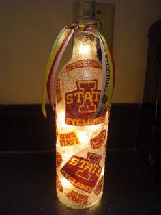 Handmade Lighted Wine Bottle w/ IOWA State by BottlesbyKaren, $20.00