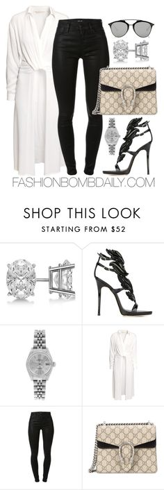 """""""Untitled #1915"""" by dnicoleg ❤ liked on Polyvore featuring Allurez, Giuseppe Zanotti, Rolex, H&M, J Brand, Gucci and Christian Dior"""