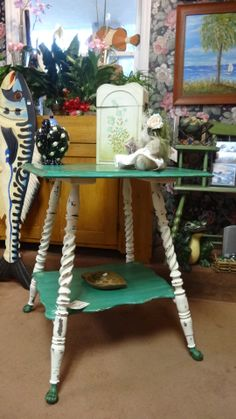 Antique Fern Stand painted with Chalk Paint® by Annie Sloan in Florence, and Old White