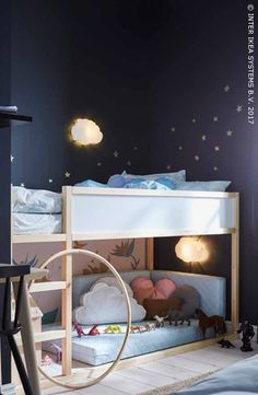 Deel je een kamer met je kind? Creëer dan een persoonlijke ruimte waarin hij/zij naar hartenlust kan spelen en ik alle rust kan dromen!  KURA Keerbaar bed, 149,-/stuk. #IKEABE #IKEAidee Do you share your bedroom with your child? Create him/her a personal space where he/she can play and dream peacefully! KURA Reversible bed, 149,-/pce. #IKEABE #IKEAidea