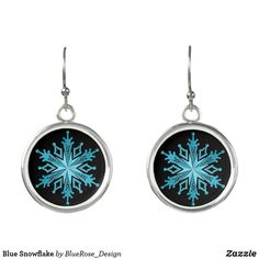 Blue Snowflake Earrings Sentimental Gifts, Snowflakes, Wedding Gifts, Unique Gifts, Drop Earrings, Unique Jewelry, Silver, Blue, Accessories