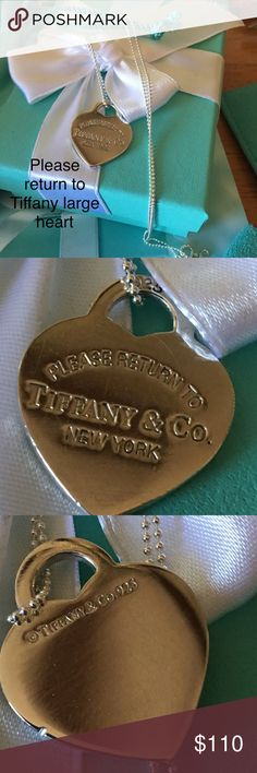 """Authentic Tiffany large heart on 24"""" chain This is authentic Tiffany. Return to Tiffany large heart on a 925 sterling silver gorgeous new chain. The chain is 24"""" fine bead chain. Perfect gift. This has been professionally polished. Please click on my page to see all my inventory Tiffany & Co. Jewelry Necklaces"""