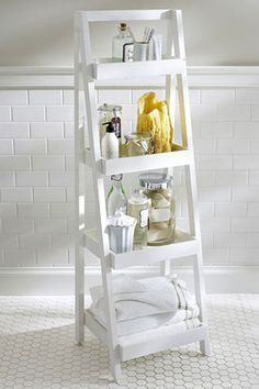 The 33 Best Bathroom Buys — Freshen Up! #refinery29 http://www.refinery29.com/bathroom-accessories#slide22 Pottery Barn Floor-Standing Ladder, $199, available at Pottery Barn.