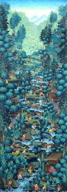 Ni Gusti Agung Galuh Pagi Ubud Bali art t Bali Painting, Paradise Painting, Indonesian Art, Surf Style, Japan Art, Bosch, Ubud, Watercolor Landscape, Artist Art