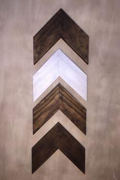 Set of 4 Small Wood Chevron Arrows. Wood Arrow Wall Art. Chevron Home Decor…