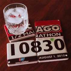 Race Number Coasters...such a cool idea!