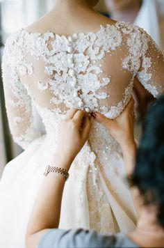 Stunning lace + pearl dress