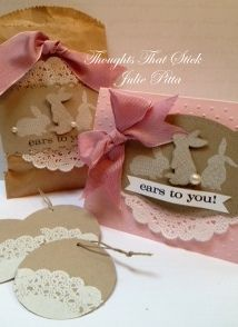Love this color combination!  Pink Pirouette and Crumb Cake.  Stampin' Up! Ears to You! stamp set by Thoughts That Stick