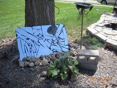 Broken Mirror Mosaic in the Garden By JunkArta (Shelley Novotny) https://www.facebook.com/MyJunkArta  http://www.etsy.com/shop/junkArta