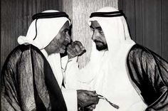 Sheikh Zayed Bin Sultan Al Nahyan, ruler of Abu Dhabi and Sheikh Rashid Bin Saeed Al Maktoum, ruler of Dubai (February 18 1968) Historic footage showing the establishment of the UAE has been unveiled online. The documents, photos and videos have been released thanks to a partnership between Google and The National Archives of the UAE. The exhibition slideshow. #UAENationalDay #UAE #nationalday #dubai #abudhabi