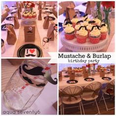 Mustache and Burlap Birthday Party Theme