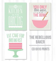 Kitchen 3 pack, 8x10 print pack, baking art, our kitchen, break the rules, eat cake for breakfast, lick the bowl, funny kitchen art prints