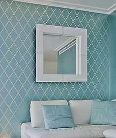 Cutting Edge Stencils - Harlequin Trellis Allover Stencil  - use light green or light yellow for upper portion of bathroom.