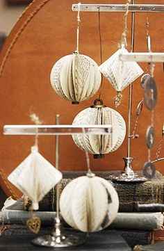 Christmas Ornaments made out of old books and rusty odds/ends!!!