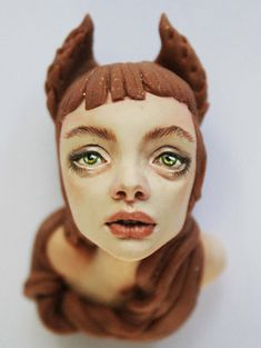Beautiful Fox girl Handmade sculpted Brooch  by Octoplum (Paloma Smith)