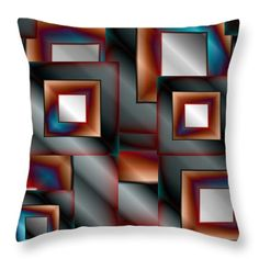Vector Throw Pillows - Abstract Square 9 Throw Pillow by Todd and candice Dailey