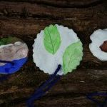 Pendants made from clay, impressed with natural objects and decorated with paint #forestschool