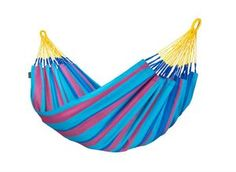 The weatherproof single hammock SONRISA prune dazzles with a bright mix of summer stripes, spicy up your backyard decor! Indoor Hammock Bed, Baby Hammock, Hanging Hammock, Hammock Stand, Hammock Accessories, Summer Stripes, Berry, Swinging Chair, Waterproof Fabric