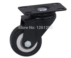 free shpping furniture caster Universal Flat Top wheel household item hardware caster PU mute hand car caster double bal bearing
