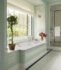 black/white/robins egg blue bathroom