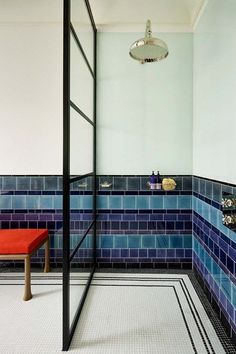 A Walk In Shower with Blue White Tiles from Waldo Works. Walk In Shower Blue White Tiles. A wet-room-style shower. Bathroom Interior, Modern Bathroom, Small Bathroom, Bathroom Ideas, Shower Bathroom, Bathroom Designs, Shower Tiles, Bathroom Mirrors, Bad Inspiration