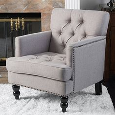 Medford Pewter Tufted Fabric Club Chair Great Deal Furniture
