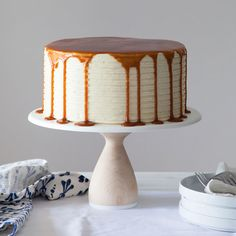 London Fog Cake - fudgy chocolate cake with creamy Earl Grey buttercream and a salted caramel drip. From the new cake book Layered by Tessa Huff on TheCakeBlog.com.