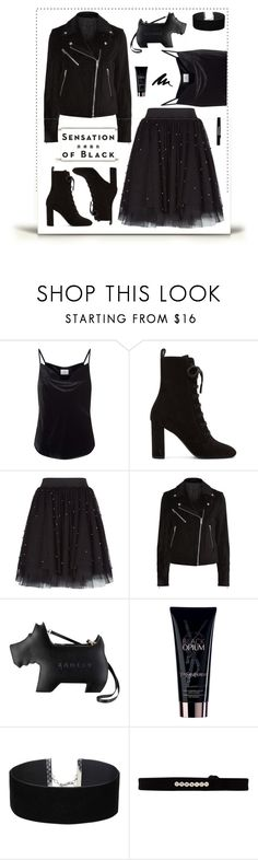 """Turn to the Dark Side"" by molly2222 ❤ liked on Polyvore featuring AG Adriano Goldschmied, Yves Saint Laurent, Maje, rag & bone, Radley, Vision, Miss Selfridge, EF Collection and allblackoutfit"