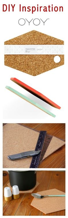 DIY Oyoy Cork Trivet -- Tutorial on: http://www.ardorblog.com/2013/01/diy-hexagon-trivets.html?m=1