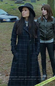 Really really want that hat. Joan's long checked coat on Elementary. Outfit Details: https://wornontv.net/67600/ #Elementary