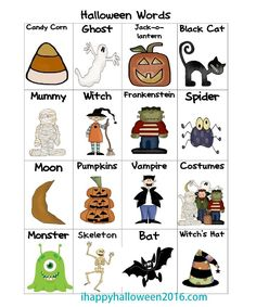Halloween word chart, to use as a picture dictionary when students write Halloween stories Halloween Vocabulary, Halloween Bingo, Halloween Worksheets, Halloween Week, Scary Halloween Images, Halloween Stories, Halloween Words, Creative Halloween Costumes, Storybook Character Costumes