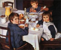 At Breakfast by Zinaida Serebriakova ~ 1914