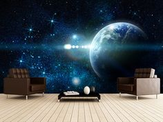 Realistic Planet Earth wall mural room setting