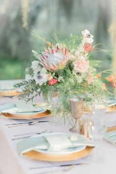 Lovely soft pastels and gold: http://www.stylemepretty.com/texas-weddings/richmond-tx/2015/05/01/whimsical-southern-spanish-moss-wedding-inspiration/   Photography: Mallory Gilani - http://www.mallorygilani.com/
