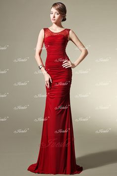 Slim-fitting Red Satin Evening Dress with Illusion Neckline and Cut-out Waist