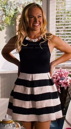 Shelby's black and white striped dress and white spiked necklace on Hart of Dixie.  Outfit Details: http://wornontv.net/46518/ #HartofDixie
