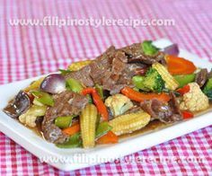 Beef Chopsuey is another variety of chopsuey originated from Chinese cuisine. Chopsuey also becomes popular in Filipino cuisine and other countries. Normally the beef marinated and stir cooked with beef broth, oyster sauce and cornstarch together with vegetables.