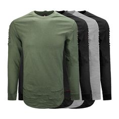 Mens Crew Neck longline t shirt Shred Shoulder Long Sleeve Pullover Long line   Clothing, Shoes & Accessories, Men's Clothing, T-Shirts   eBay!