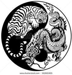 Dragon And Tiger Yin Yang Symbol Of Harmony And Balance Stock Vector 162681905 : Shutterstock