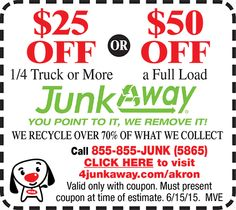 $25 OFF Or $50 OFF Hauling Service @ JunkAway