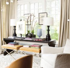 This pic never gets old: leopard rug + greek key x-benches - console table.. . Layered #styling