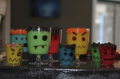 Monster Pudding Cups. I did it and they look AWESOME! So easy and the kids helped too. Draw on monster faces, make vanilla pudding, add food colouring, then top off with crushed Oreos, chocolate chips, sprinkles. Super Fun - Easy Easy!